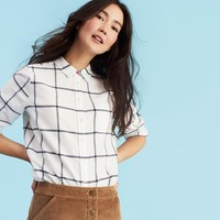 Lorena Grey Window Check Long Line Brushed Shirt | Joules US