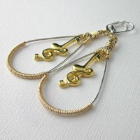 Gold and Silver Music Note Earrings Treble Clef Long Dangling Hoops