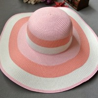 T-explorer®women Ladies Sweet Striped Straw Hat Wide Brim Sun Visor Hat Floppy Hat for Summer (Pink) with Family Shop Beautiful Hairpin