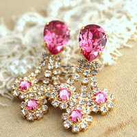 Chandelier Pink and white Swarovski Rhinestones,Bridal earrings,Christmas gift, gift for woman - 18K Gold plated Crystal earrings