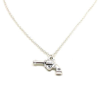Gun Necklace, Silver Gun Necklace, Charm Jewelry, Gun Pendant, Gun Jewelry, Gun Charm, Jewelry Gift, Pistol Necklace, Weapon Necklace