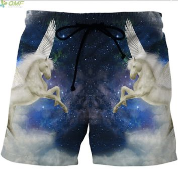 White Unicorn Beach Shorts Breathable Mesh Short Pants Summer Galaxy Unicorn Sports Shorts Men Trunks Quick Dry Plus Size S-4XL