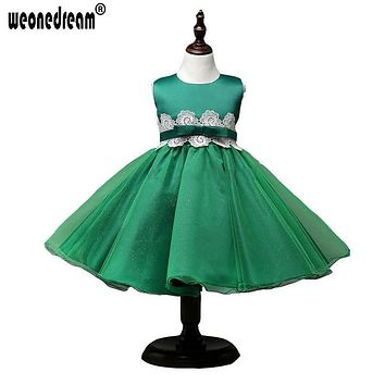 WEONEDREAM Girl Dress for Weddings Green Bow Sashes Flower Girl Dresses Satin Lace Performance Down Princess Pageant Dress