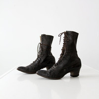 SALE Victorian shoes / antique black women's boots
