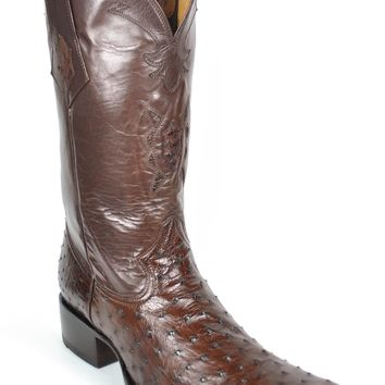 Gavel Handcrafted Spanish Toe Collection Full Quill Ostrich Boots-Tobacco