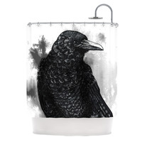 "Sophy Tuttle ""Crow"" Black White Shower Curtain"
