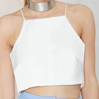 White Halter Crop Top with Open Back