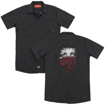 Betty Boop - Bandana & Roses (Back Print) Adult Work Shirt