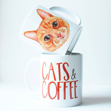 Cat gift, ginger cat coffee mug, quote mugs with cats, crazy cat lady gift.