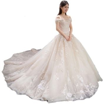 Lace Flower Embroidery Big Train Wedding Dresses