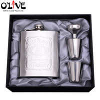 7 Oz Stainless Steel Hip Flask Set Portable Embossed Jack Daniels Flagon Drinkware Alcohol Drink Liquor Russian Wine Pot Whisky