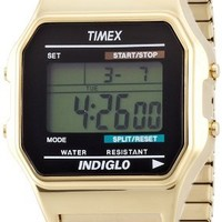 Timex Men's #T78677 Classic Digital Gold-Tone Expansion Band Watch