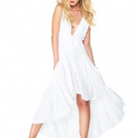 High Low White Silk Dress