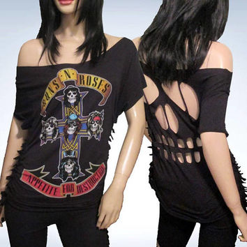Guns N Roses / Cut / Fringed / Skull Cut Out / Appetite for Destruction / Band T Shirt Size XL
