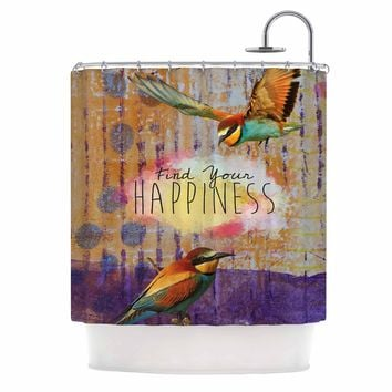 "AlyZen Moonshadow ""Find Your Happiness 2 Birds"" Multicolor Orange Digital Shower Curtain"