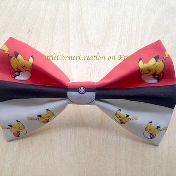 Pokemon Bowtie.Pokeball Bowtie.Pikachu Bowtie.Pokemon Hair Bow.Pokeball Hair Bow.Wedding Bowtie.Mens Bow Tie.Boys Bowtie.Geekery Bow