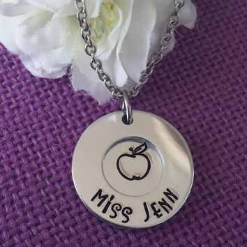 Teacher Gift - Teacher Jewelry - Teacher Appreciation - Teacher Necklace - Teaching is a work of heart - Personalized teacher Gift