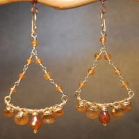 Venus 114 Mandarin Garnet Chandelier Earrings
