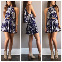 A Navy Floral Two Piece Set