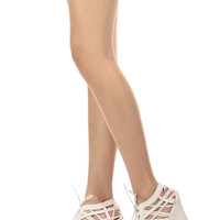 White Faux Leather Cut Out Open Toe Lace Up Wedges