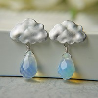 Matte White Gold Rain Cloud Earrings. Rainy Season. Opalite Briolette Rain Drops.
