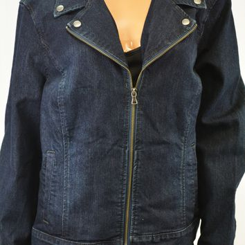 Style&Co Women's Blue Dark Wash Denim Moto Jacket Coat Large L
