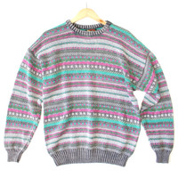 Vintage 80s Faded Acid Wash Cosby Ski Sweater - The Ugly Sweater Shop