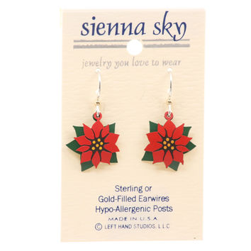 Sienna Sky Poinsettia & Leaf Hand-Painted Dangle Earrings