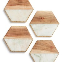 Nordstrom at Home Set of 4 Wood & Marble Coasters | Nordstrom