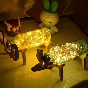Solid Wooden Deer LED Night Lights Bottle 3D Lamps Fireworks Kids Sleeping Lights Home Decoration