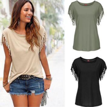 New summer sexy Women solid color Tassel sleeve T-shirt-0524