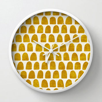Gold Mustard minimalist modern Clock, Modern wall clock in ochre hand painted dots, scalloped minimalist pattern, mustard dots on off white