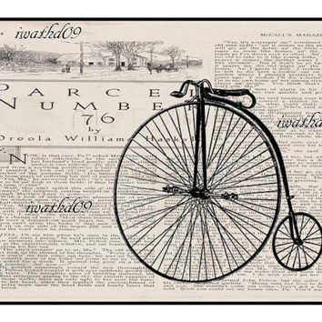 Printable art vintage bicycle instant download birthday gift 300 dpi commercial use jpeg printable art digital download steampunk wall art