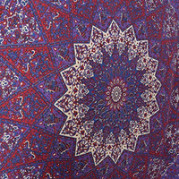 Popular Handicrafts Hippie Kaleidoscopic Star Intricate Floral Design Indian Bedspread Tapestry 84x90 Inches,(215cmsx230cms) Purple Red