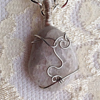 Stone Pendant Wire Wrapped Necklace