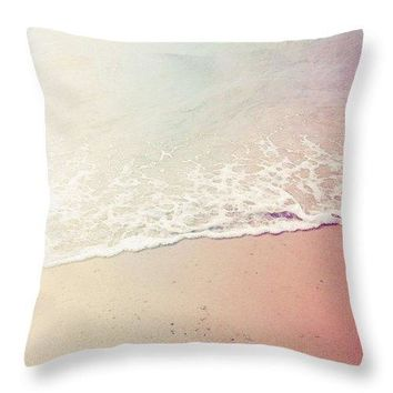 Ocean Air, Salty Hair, Watercolor Art By Adam Asar - Asar Studios - Throw Pillow
