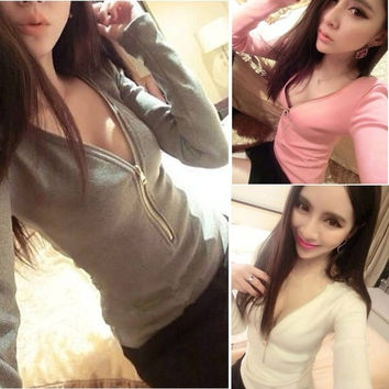 Women Sexy V Neck T-Shirt Zipper Design Slim Basic Top Long Sleeve Shirts Blouse W_C = 1645649860