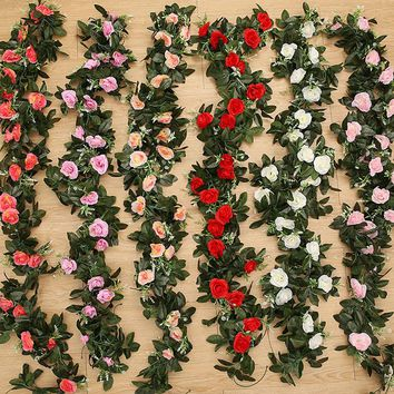 2.4m/7.8ft Artificial Silk Rose Flower Wisteria Vine Rattan Hanging Flower Garland for Wedding Party Home Garden Decoration