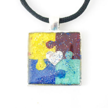 Autism Puzzle Piece Asperger's Square Necklace Red Blue Yellow