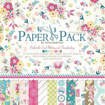 """Scrapbooking Craft Paper Set for Origami,Card making,12""""x12"""" Multi-flowers/Floral Scrapbook Page Kit"""