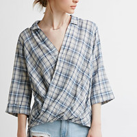 Plaid Surplice Twist-Front Shirt