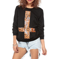 Up Side Cheetah Cross Crew Neck Sweater