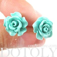 Classic Floral Rose Stud Earrings in Mint Green Blue | DOTOLY