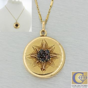 1880s Antique Victorian Estate 14k Gold Garnet Locket Pendant Chain Necklace