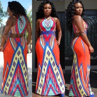 Red Geometric Tribe African Print Aztec Hollow Waist Round Neck Floor Length Dress
