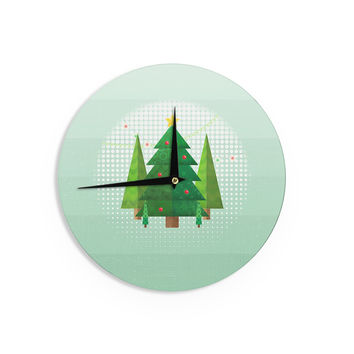 "Noonday Design ""Geometric Christmas Tree"" Green White Wall Clock"