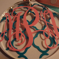 Monogrammed Acrylic Keychain with Houndstooth Print Background