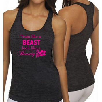 Woman Burnout Razor Tank Top Tank Graphic Tee Graphic Tank Workout Tank Train like a beast look like a Beauty