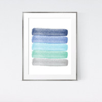 Hand Painted Watercolor Abstract Art | Mint Blue and Grey Print | Large Prints 50 x 70 cm