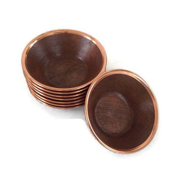 Mid Century-Salad Bowls-Coppercraft Guild-Faux Wood-Copper Rims-Set of 8-Retro Dinnerware-Vintage Kitchen